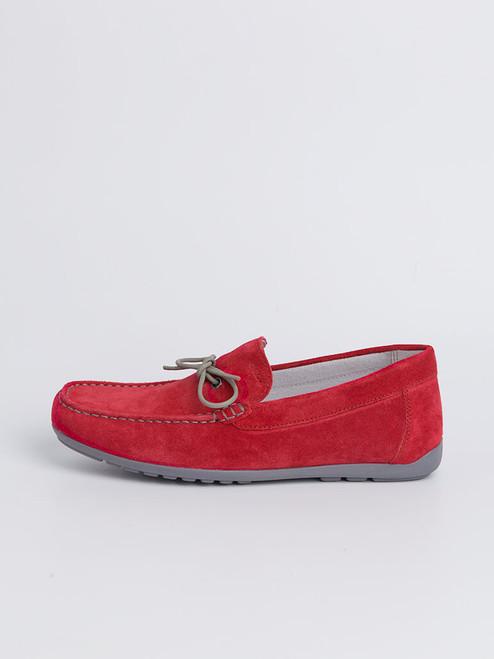 Side View Red Geox Tivoli Moccasin Shoe