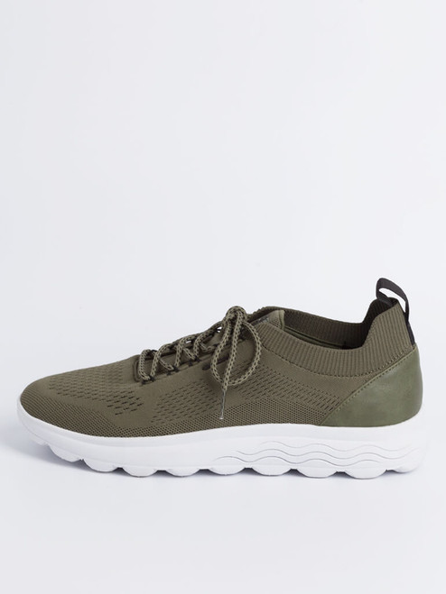 Side Profile of Olive Geox Spherica Trainer