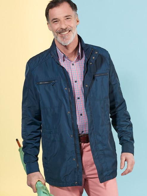 Model Wearing Navy Blue Geox Renny Jacket