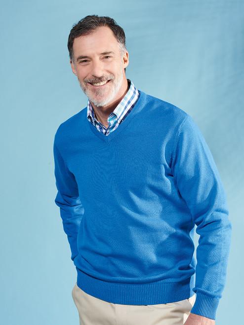 Model wears Blue Cotton V-Neck Pullover