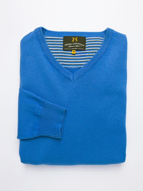 Blue Cotton V-Neck Pullover