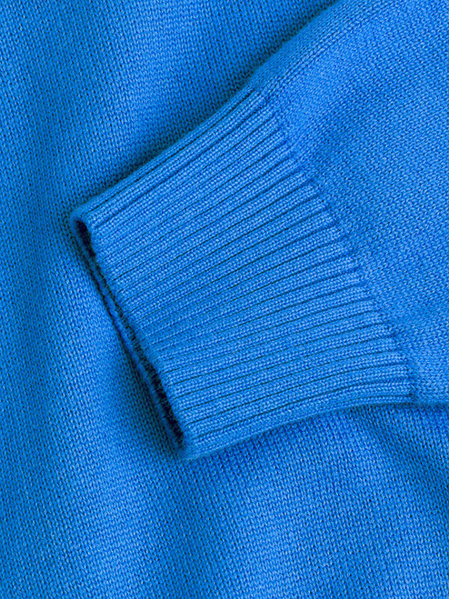 Ribbed Cuff on Blue Cotton V-Neck Pullover