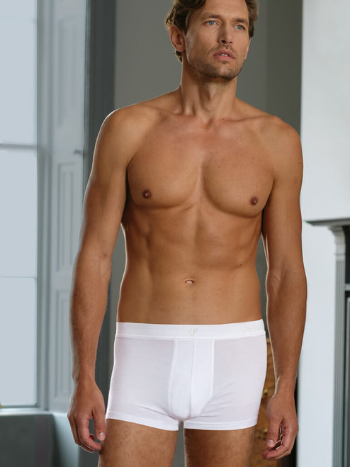 Model Wearing White Vedoneire Jersey Boxer Brief