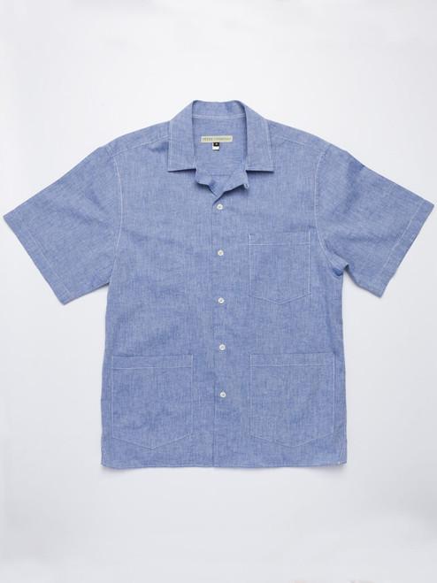 Flat Lay of Blue Cotton and Linen Bermuda Shirt