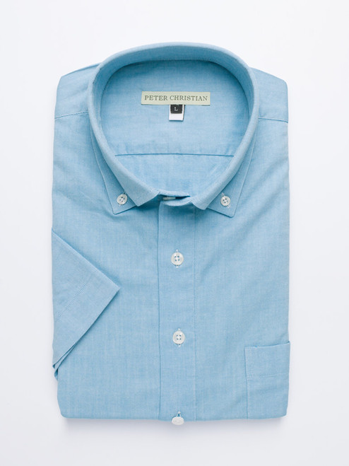 Flat Lay of Turquoise Short Sleeve Popover Shirt