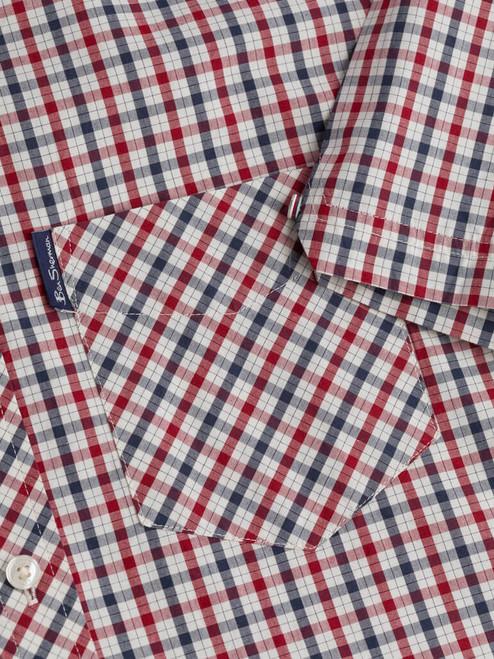 Close Up of Red Ben Sherman House Check Shirt Pocket