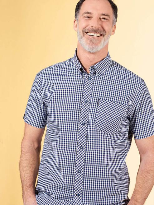 Model Wearing Blue Ben Sherman Short Sleeve Gingham Shirt