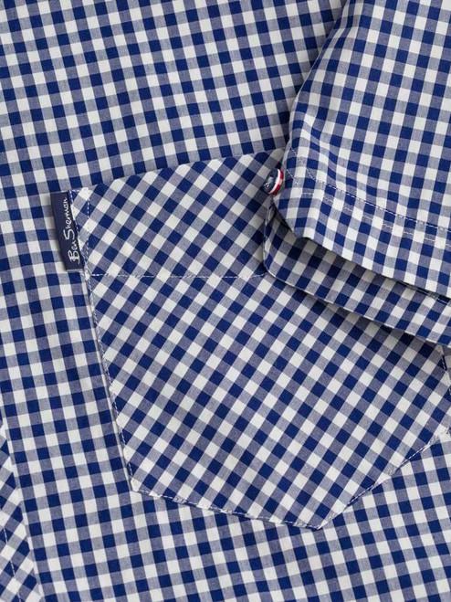 Close Up of Blue Ben Sherman Short Sleeve Gingham Shirt Pocket