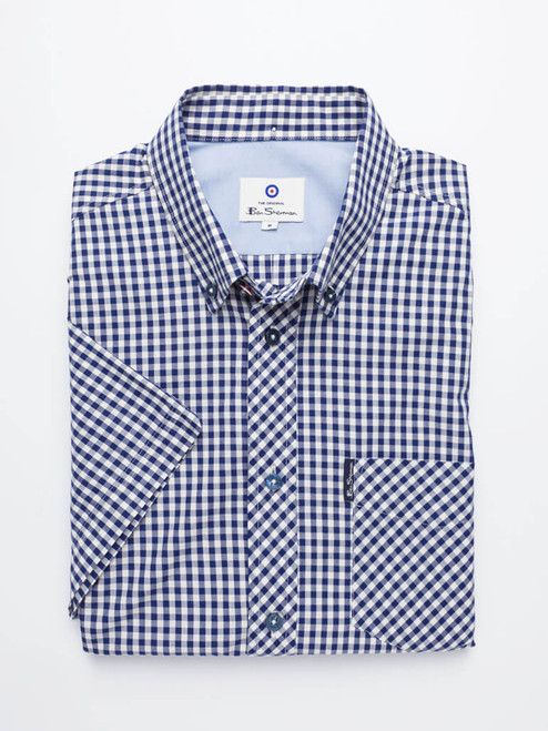 Image of Blue Ben Sherman Short Sleeve Gingham Shirt
