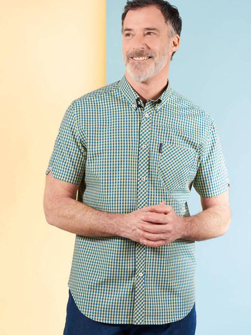 Model Wearing Green Ben Sherman Short Sleeve Gingham Shirt