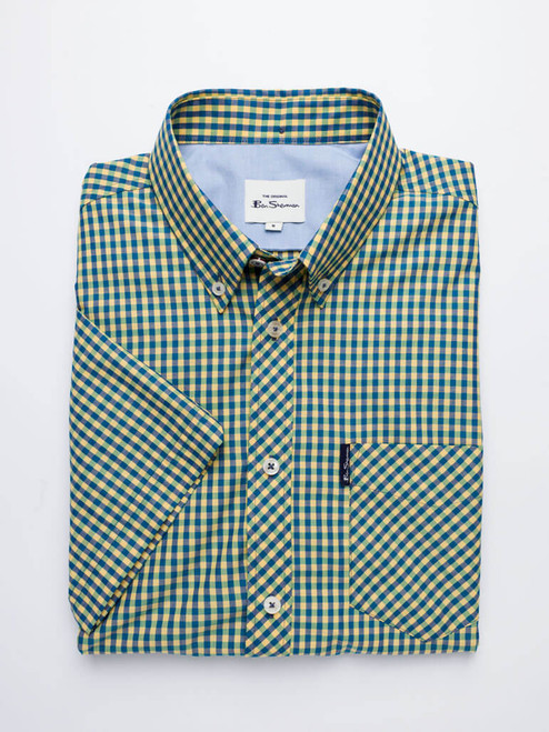 Image of Green Ben Sherman Short Sleeve Gingham Shirt