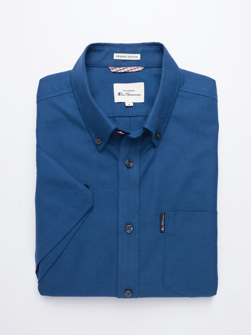 Image of Azure Blue Ben Sherman Organic Short Sleeve Oxford Shirt