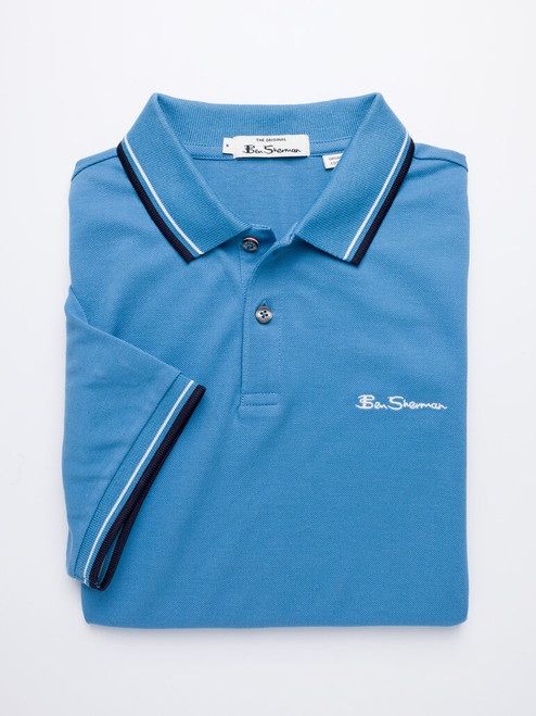 Image of Blue Ben Sherman Organic Cotton Polo