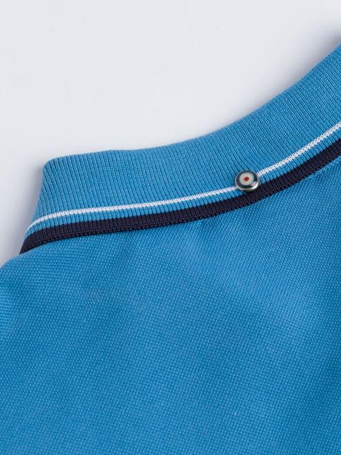 Close Up of Blue Ben Sherman Organic Cotton Polo Collar
