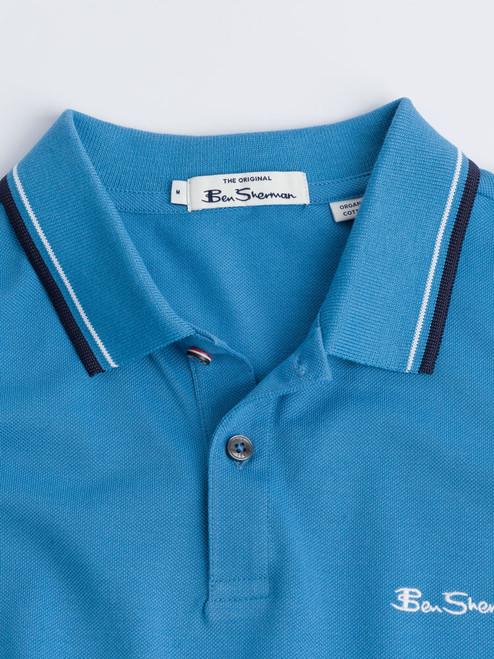 Close Up of Blue Ben Sherman Organic Cotton Polo Detail