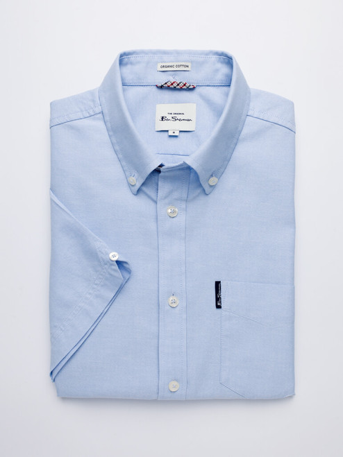 Image Of Sky Blue Ben Sherman Organic Short Sleeve Oxford Shirt