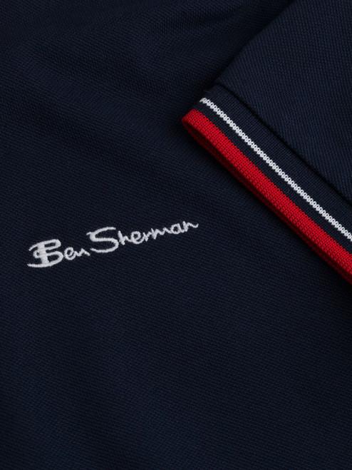 Close Up of Navy Blue Ben Sherman Organic Cotton Polo Logo