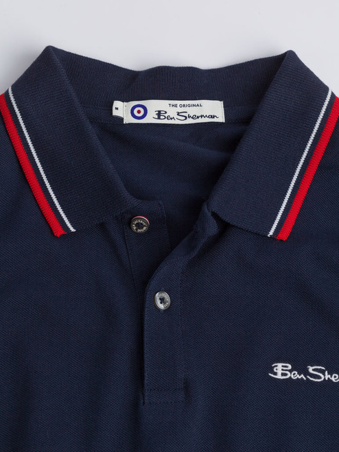 Close Up of Navy Blue Ben Sherman Organic Cotton Polo Details