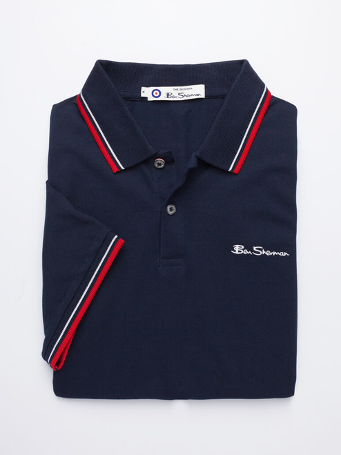 Image of Navy Blue Ben Sherman Organic Cotton Polo