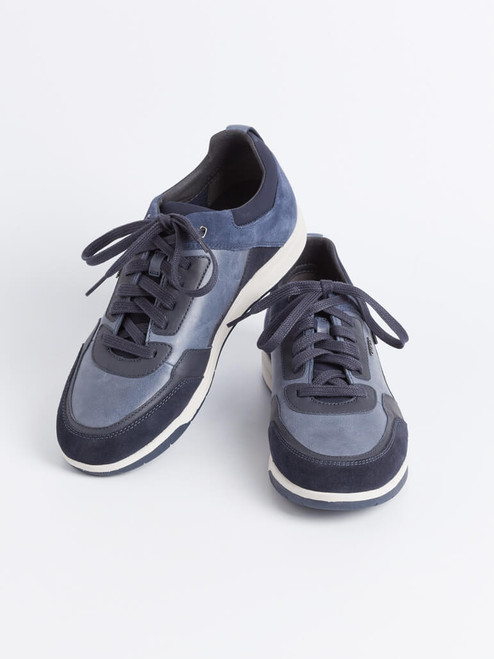 Navy Geox Spherica Leather Trainers