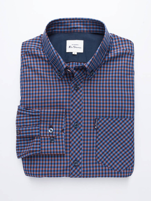 Blue Ben Sherman Long Sleeve House Check Shirt