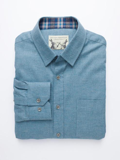 Turquoise Blue Brushed Cotton Shirt
