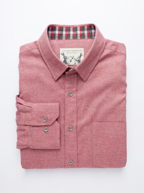 Brick Red Brushed Cotton Shirt