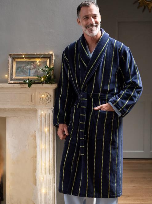 Model wears Luxury Striped Velour Robe