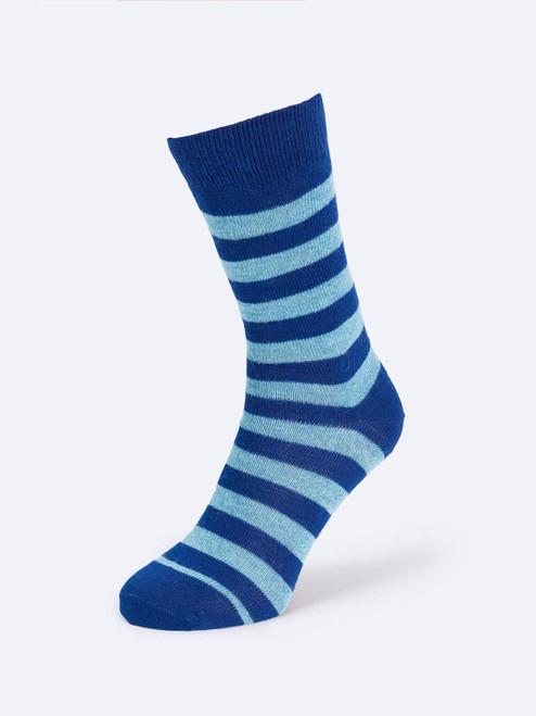 Navy Striped Mohair & Merino Socks