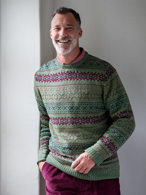 Sage Green Fairisle Crew Neck Sweater