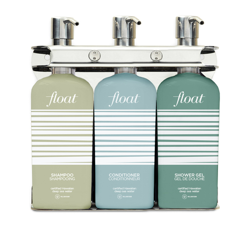 FLOAT Refillable | Triple Station | Stainless Steel | SHAMPOO & CONDITIONER & SHOWER GEL | 9oz Bottles - Qty 6 (2 each)