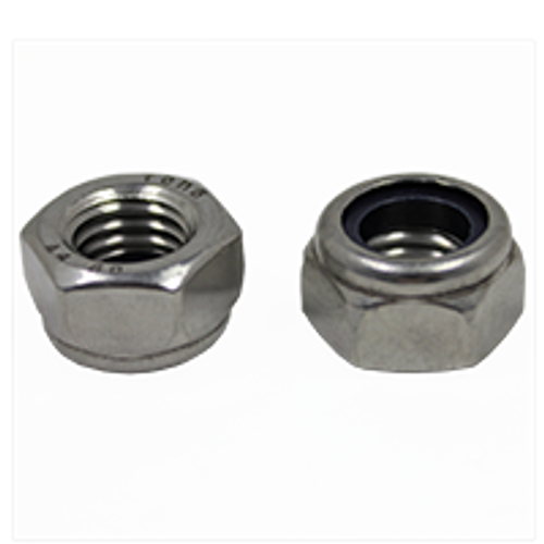 M6-1.00 DIN 985 NYLON INSERT LOCKNUTS COARSE STAINLESS A4-70, Qty 100
