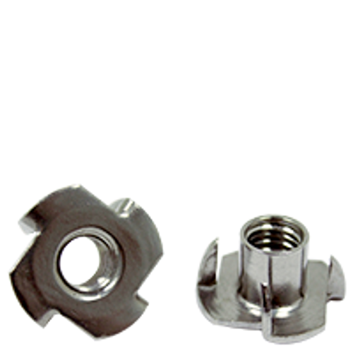 "3/8"" - 16 x 7/16"", 4 Prong STAINLESS STEEL 18-8 TEE NUT (prongs & Barrel Length), Qty 100"