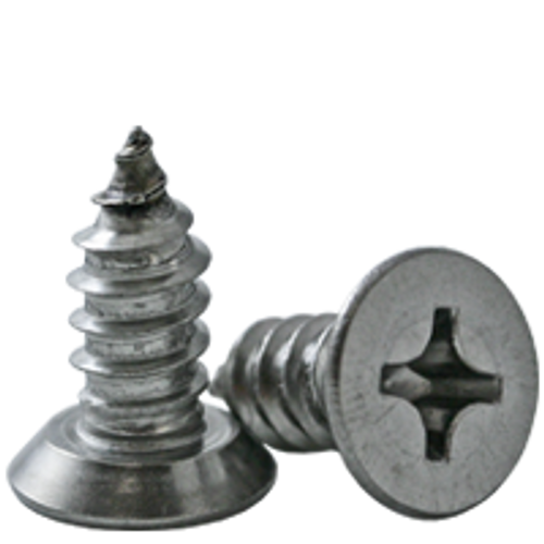 """#4-24x1/4"""",(FT)FLAT HEAD PHIL, Undercut SELF-TAPPING SCREW, TYPE AB, STAINLESS STEEL 18-8, Qty 1000"""