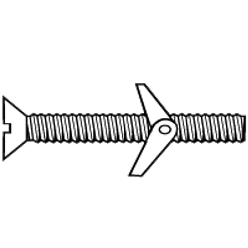 """1/4""""-20x3"""" ROUND HEAD SLOT TOGGLE BOLT WITH WING NUT, ZINC CR+3, Qty 10"""