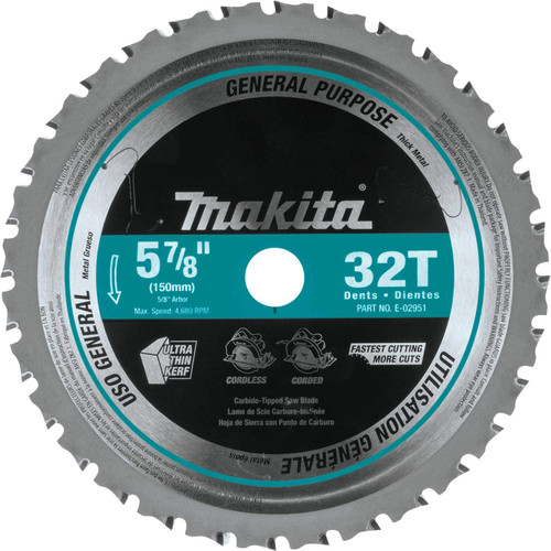"Makita 5‑7/8"" 32T Carbide‑Tipped Saw Blade, Metal/General Purpose"