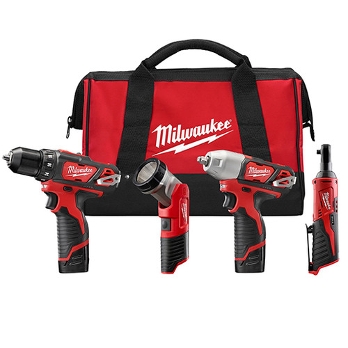 Milwaukee I M12™ COMBO 3/8 DRVDRL/3/8 IMPCT/3/8 RCHT/LGT W/2 BAT