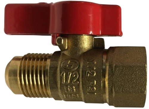 Appliance Connector Valve Female x Flare 1/2 FPT X 3/8 FLARE CSA GAS BALL VALVE