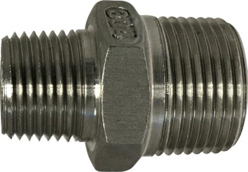 #304 Reducing Hex Nipple 3/8 X 1/4 304 S.S. HEX NIPPLE - 62742