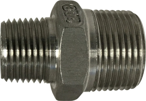 #304 Reducing Hex Nipple 3/4 X 1/2 304 S.S. HEX NIPPLE - 62749