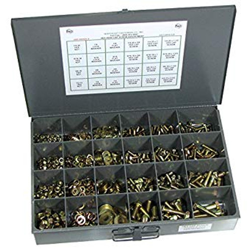 Coarse Thread Grade 8 Assortment - 1150 Piece Includes bolts, flat washers, lock washers, and hex nuts Cold Rolled Steel Drawer with 24 compartment plastic divider