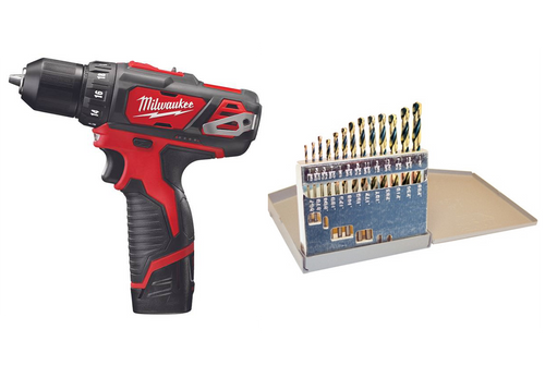 Milwaukee M12 Hammer Drill and 13pc Drill Bit Set Combo