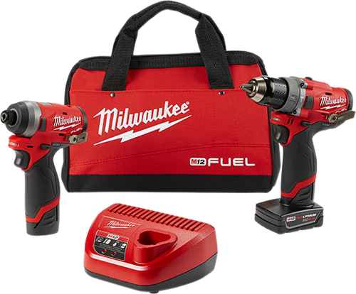 """M12 FUEL™ 2-Tool Combo Kit: 1/2"""" Hammer Drill and 1/4"""" Hex Impact Driver"""