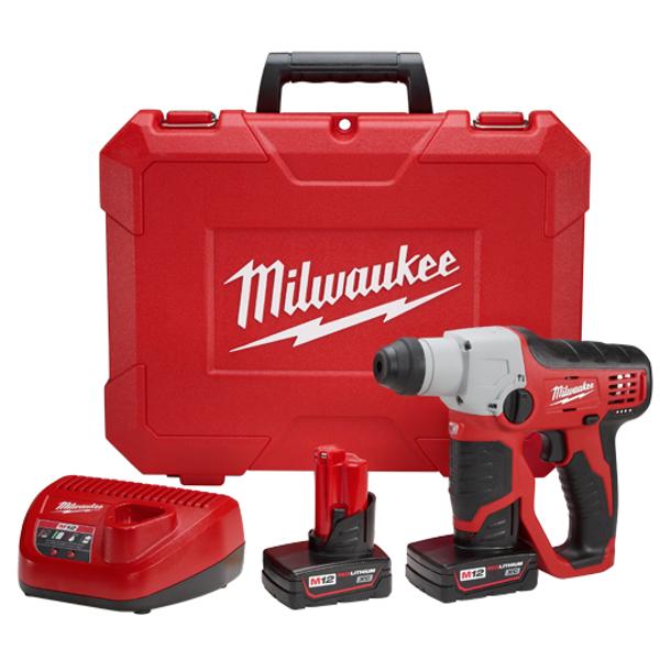 Milwaukee I M12™ 1/2 SDS ROTARY HAMMER KIT W/2 XC BAT