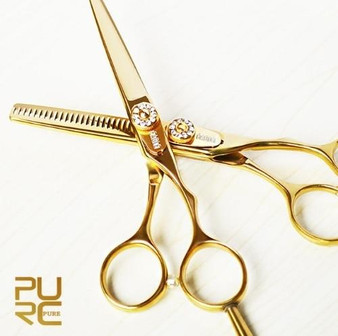 KERATIN TREATMENT PROFESIONAL SET GOLD CRYSTAL HAIR SCISSORS 5.5 and THINNING SCISSORS 5.5 INCHES