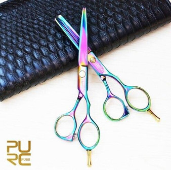 KERATIN TREATMENT PROFESIONAL SET TITANIUM HAIR SCISSORS 6 and THINNING SCISSORS 5.5 INCHES WITH PROTECTION CASE