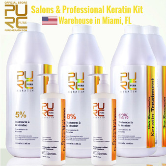 SALONS & PROFESSIONAL KERATIN KIT 4 x 33.8 fl oz (1000ml) KERATIN BOTTLE + PURIFYING SHAMPOO 2 x 10.14 fl oz (300 ml)