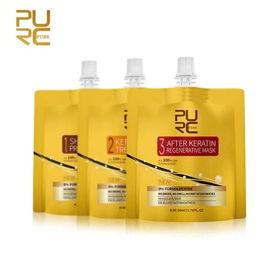 KERATIN مجموعة كاملة لمعالجة الشعر بالكيراتين شامبو المعالجة المسبقة علاج الكيراتين بلسم يومي