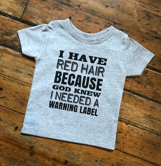 tee, tshirt, warning label, red hair, cotton, youth, child, gray, funny