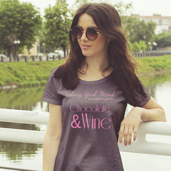 Ladies, tee, brown, cotton, funny, chocolate, wine, good mood, today